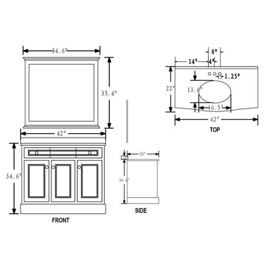 montauk 42 u0026 39  u0026 39  single sink bathroom vanity set with mirror
