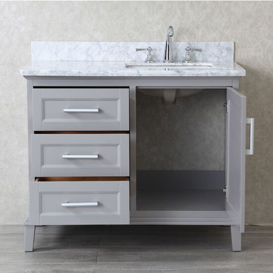 Nantucket 42 39 39 Single Sink Bathroom Vanity Set With Mirror In Whale Grey By Ariel By Seacliff