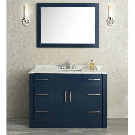 Ariel by seacliff 48 39 39 radcliff single basin vanity in midnight blue for Midnight blue bathroom vanity