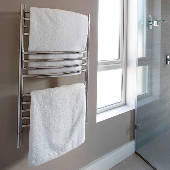 Amba Towel Warmers Jeeves Model C Curved, Polished Finish