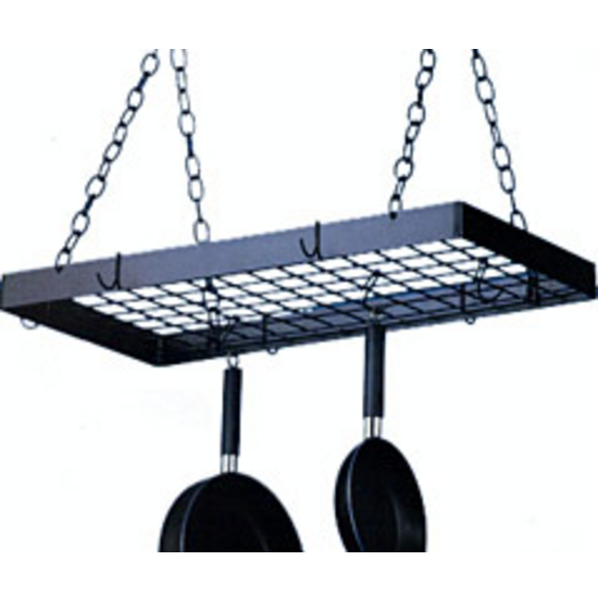 Rectangular Ceiling Pot Racks by Blackhurst, Black with Black Grid