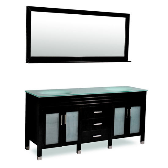 73 39 39 W Dayton Double Sink Bathroom Vanity Set In Black Or Espresso Finish By Belmont Decor