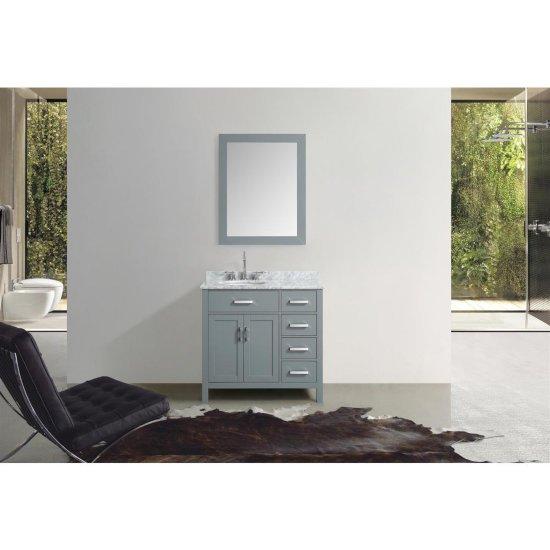 "37"" Single Left Oval Sink Vanity Set Grey"