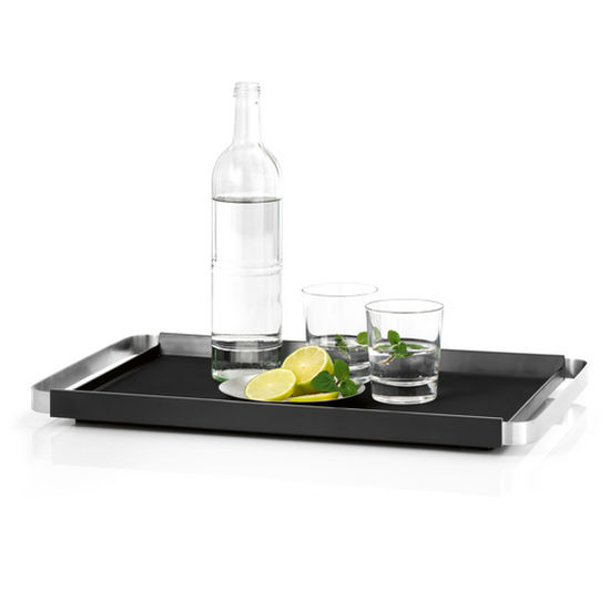 Blomus Pegos Collection Rectangular Food Serving Tray in Silicone with Stainless Steel Handles, 12-3/5'' W x 12-3/5'' D x 1-2/5'' H