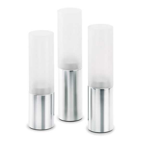 Blomus Faro Collection 3-Piece Tealight Holder Set in Stainless Steel/Frosted Glass, 2'' Diameter