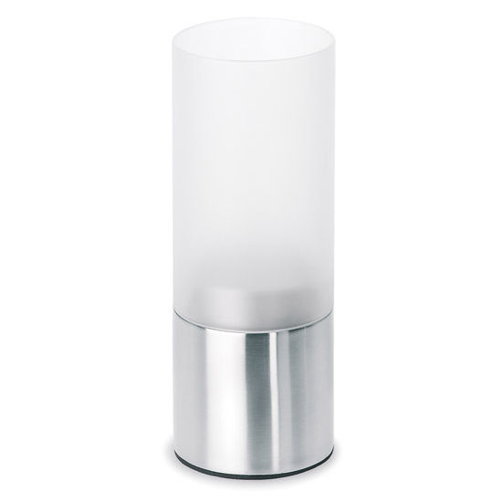 Blomus Faro Tealight Holder with Silver Base, 2-4/5''W x 2-4/5''D x 7-2/5''H
