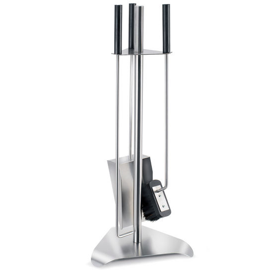 Chimo Brushed Stainless Steel 4-Piece Fireplace Set with Triangular Base