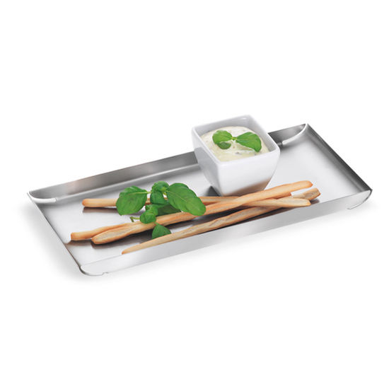 Blomus Trayan Collection Food Serving Tray in Stainless Steel, 5-1/10'' W x 11-4/5'' D x 4/5'' H
