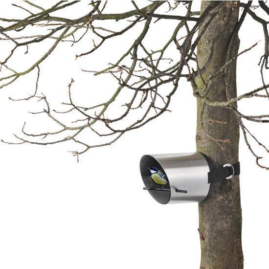 Blomus Borea Collection Tubular Bird Feeder on Tree in Stainless Steel, 8-3/5'' Diameter x 6-1/5'' D x 5-1/2'' H