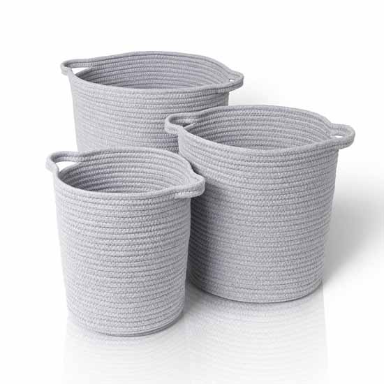 Blomus Boa Collection Round Woven Baskets, Set of 3, Light Gray