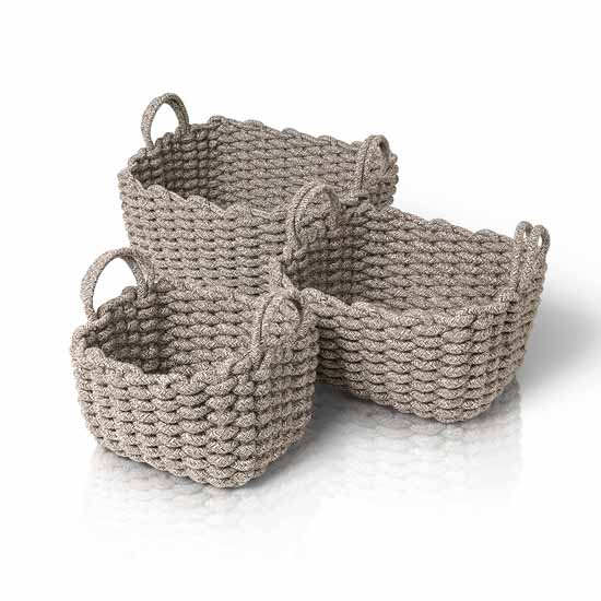 Blomus Corda Collection Rectangle Crochet Baskets, Set of 3, Light Brown