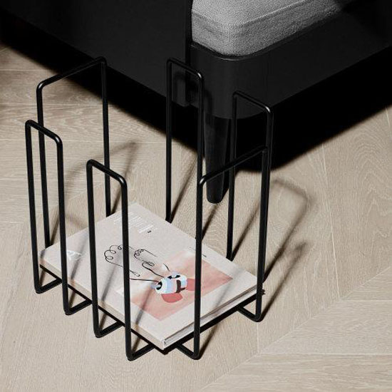 Magazine Holder Recycling Container in Black Lifestyle