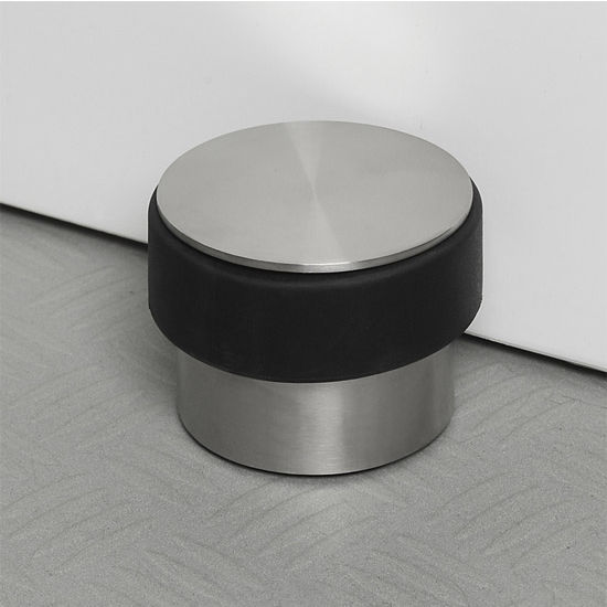 Blomus Stop Collection Door Stopper in Stainless Steel Base with Rubber Bumper, 3-9/16'' Diameter x 2-41/64'' H