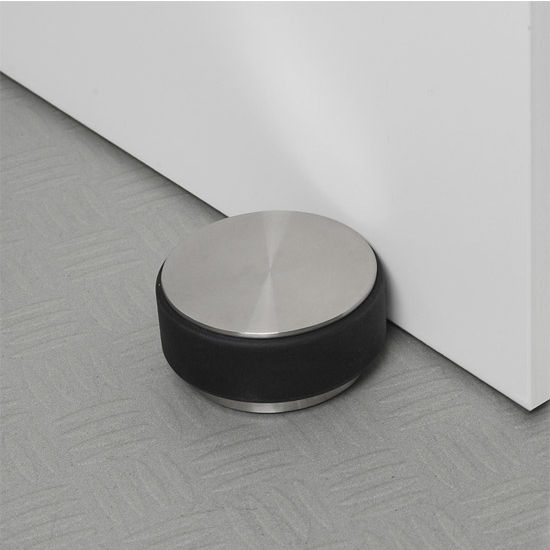 Blomus Stop Collection Door Stopper in Stainless Steel Base with Rubber Bumper, 3-9/16'' Diameter x 1-25/32'' H