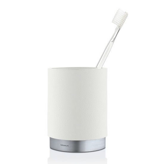 Blomus Ara Collection Toothbrush Mug in White, 3-15/64'' Diameter x 4-17/32'' H
