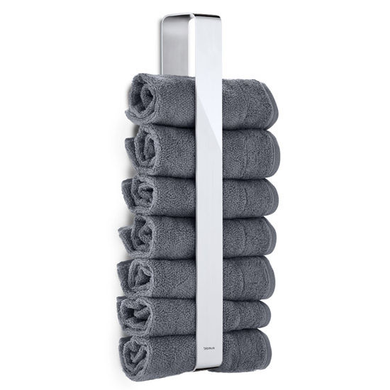 Blomus Wall Mounted Guest Towel Holder Holds Rolled Up