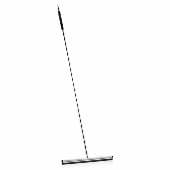 "Blomus Lavea Collection Squeegee with Handle, Wall Mount, Polished, 14-5/8""W x 48-1/2""D x 3/4""H"