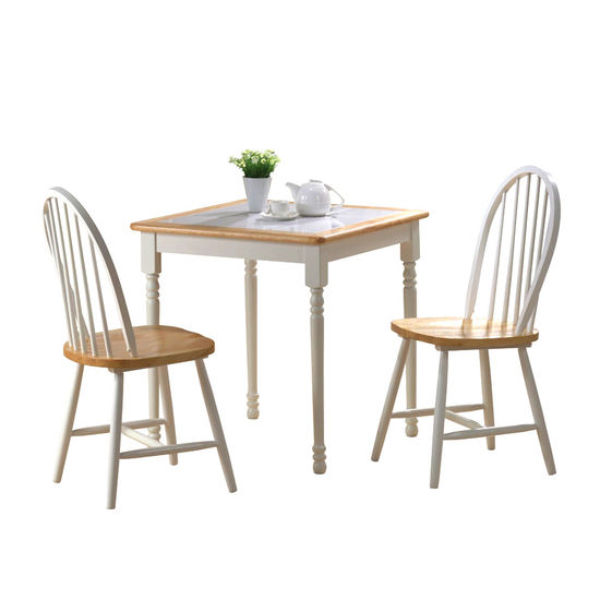 Boraam Industries 3 Piece Tile Top Farm Table Dining Set With 2 Windsor Chairs