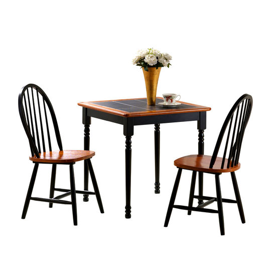 3-Piece Tile Top Farm Table Dining Set with 2 Windsor Chairs