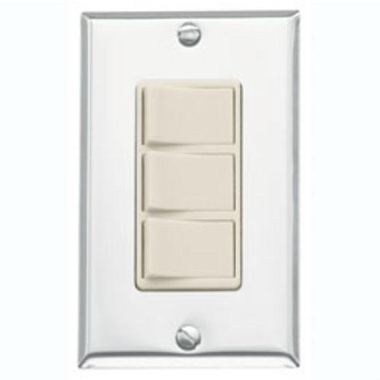 Broan Three Function Rocker Control, Chrome/Ivory
