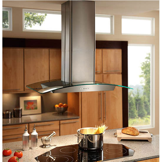 Kitchen Island With Stove And Hood: Broan Elite EI59 Series Island Mount Glass And Stainless Chimney Range Hood