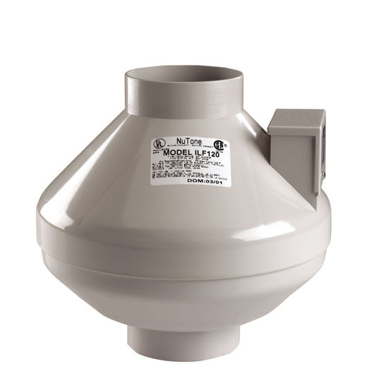"Broan Inline Radon Fan for 4"" or 5"" Duct, 150 CFM"