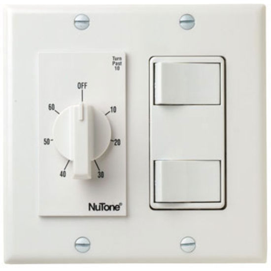 Nutone 60-minute timer and two separate ON/OFF controls