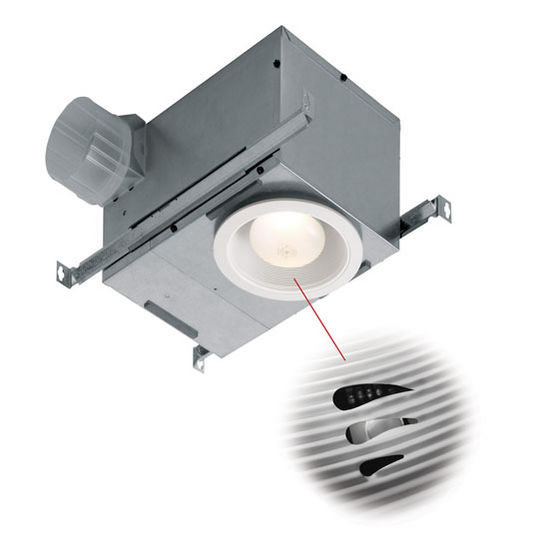 "NuTone 70 CFM Humidity Sensing Recessed Fluorescent Fan/Light with White Trim, Energy Star ®, Housing: 12-3/4"" W x 8-1/4"" D x 6-7/8"" H"