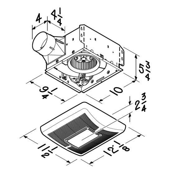 Brl A50l Or Brl A70l Bathroom Fans Invent 50 Or 70 Cfm Single