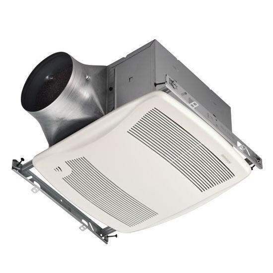 """Broan Ultra Green ™ 110 CFM Single-Speed Humidity Sensing Fan, <0.3 Sones, Energy Star ®, Housing: 11-3/8"""" W x 10-1/2"""" D x 7-5/8"""" H"""