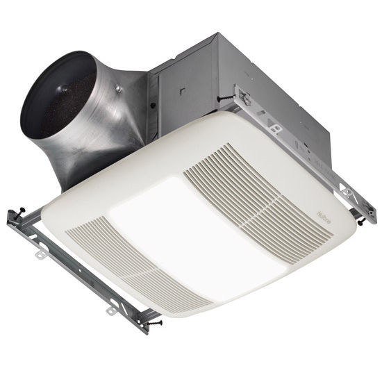 NuTone Ultra Green &#8482; 110 CFM Single-Speed Ventilation Fan with Lighting and with White Grille, <0.3 Sones, Energy Star &#174;, Housing: 11-3/8&quot; W x 10-1/2&quot; D x 7-5/8&quot; H
