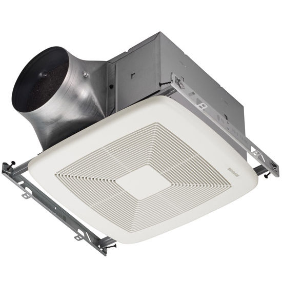 "Broan Ultra Green ™ 80 CFM Multi-Speed Ventilation Fan with White Grille, <0.3 Sones, Energy Star ®, Housing: 11-3/8"" W x 10-1/2"" D x 7-5/8"" H"