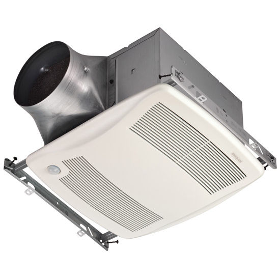 "Broan Ultra Green ™ 80 CFM Motion Sensing Multi-Speed Ventilation Fan with White Grille, <0.3 Sones, Energy Star ®, Housing: 11-3/8"" W x 10-1/2"" D x 7-5/8"" H"