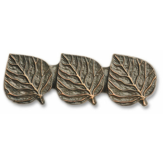 Buck Snort Cabinet Hardware: BS-175 Triple Aspen Leaves Drawer Pull