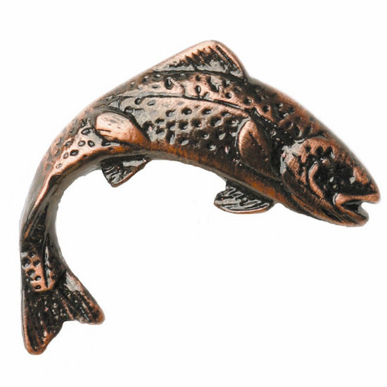 Fish collection 2 1 2 wide jumping trout left or right for Fish cabinet knobs