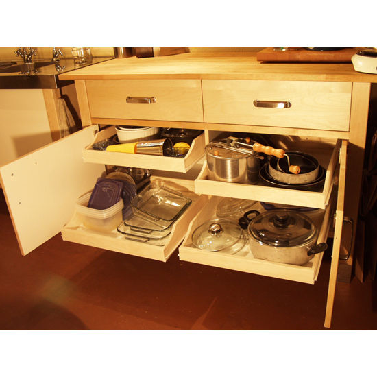 Rolling shelves 39 39 express pre assembled cabinet pull out for Ready made kitchen drawers