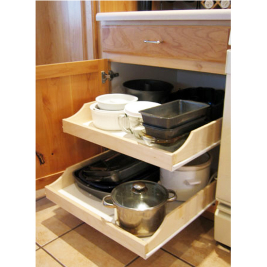 "Rolling Shelves ''Express"" Pre-Assembled Cabinet Pull-Out Shelves For Kitchen, Vanity, Closet"