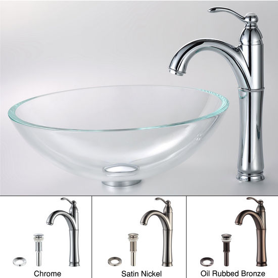 Kraus Crystal Clear Glass Vessel Sink and Riviera Chrome Faucet Set
