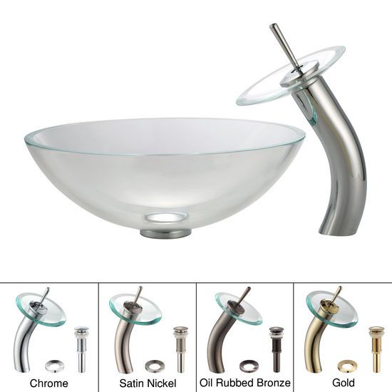 Kraus Crystal Clear Glass Vessel Sink and Chrome Waterfall Faucet Set