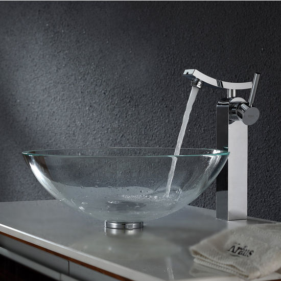 Kraus Crystal Clear Glass Vessel Sink and Unicus Chrome Faucet Set