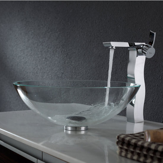 Kraus Crystal Clear Glass Vessel Sink and Sonus Chrome Faucet Set
