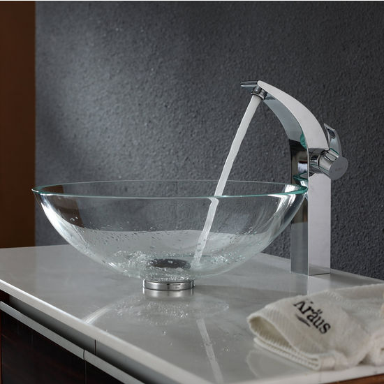 Kraus Crystal Clear Glass Vessel Sink and Illusio Chrome Faucet Set