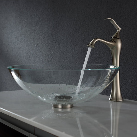 Kraus Crystal Clear Glass Vessel Sink and Ventus Brushed Nickel Faucet Set