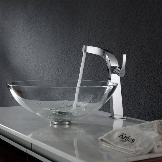 Kraus Crystal Clear Glass Vessel Sink and Typhon Chrome Faucet Set