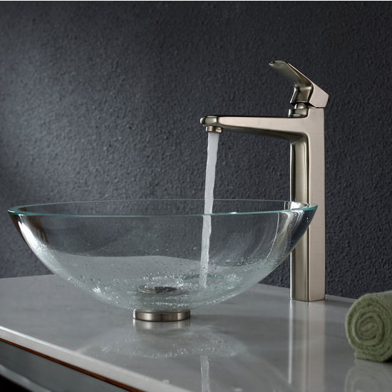 Kraus Crystal Clear Glass Vessel Sink and Virtus Brushed Nickel Faucet Set