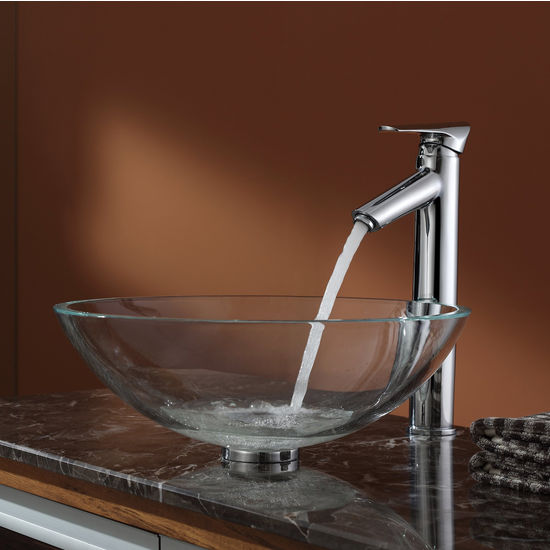 Kraus Crystal Clear Glass Vessel Sink and Decus Chrome Faucet Set