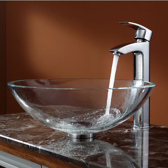 Kraus Crystal Clear Glass Vessel Sink and Visio Chrome Faucet Set