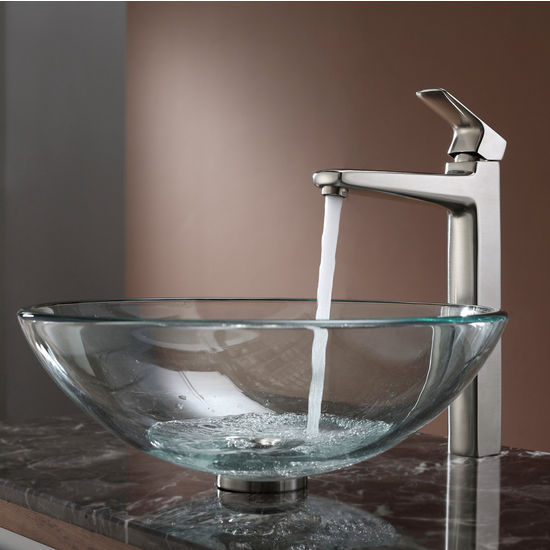 Kraus Clear Glass Vessel Sink and Virtus Brushed Nickel Faucet Set