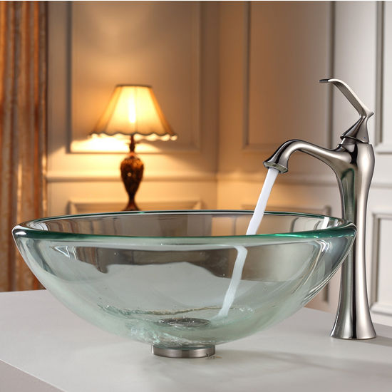 Kraus Clear 19mm thick Glass Vessel Sink and Ventus Brushed Nickel Faucet Set
