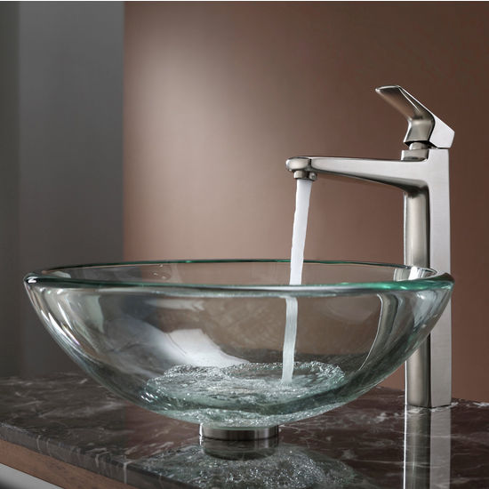 Kraus Clear 19mm thick Glass Vessel Sink and Virtus Brushed Nickel Faucet Set